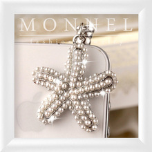 ip199-1 Monnel 2015 Fashion Style Custom Lovely Pearl Beads Ocean Sea Star Charm 3.5mm Cell Phone Dust Plugs
