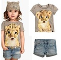 çocuk kız gri leopar t- shirt kot pantolon çocuk kıyafeti seti