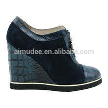 Popular beautiful metal slider dark blue boots female spring and autumn