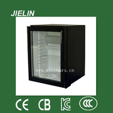 30L Major price glass front custom fridge for hotel sliding glass door fridges