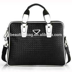 China manufacturer man shoulder tote bag diamond check leather men bag