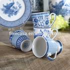 10OZ Elegant Fine New Bone China Blue and White Ceramic Mug of Blue in China