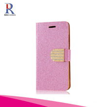 Fashion Style Wallet Card Phone Case with Crystal Diamond Magnetic Design