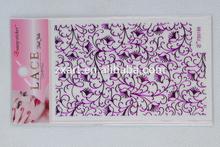 Small floral DIY lace silver stamping nail wrap/nail art purple
