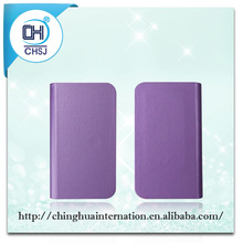 Grace purple PU leather universal flip cell phone cover cases with sucker