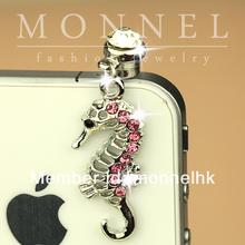 ip221-1 Monnel 2015 Custom Designed Alloy Rhinestone Pink Sea Horse Cell Phone Headphone Anti Dust Plug Cover Charm
