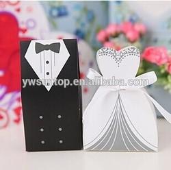 Cheap bride and groom simple design wedding favor box