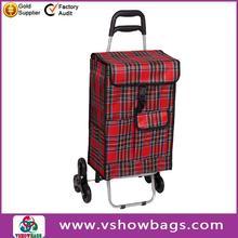 Eco-fabric PE check polyester folding 3 wheels shopping trolley bag