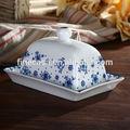 Elegante belas manteiga de porcelana branca prato de azul sonho Made in China
