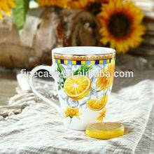 11OZ Fine New Bone China Elegant Yellow Ceramic Coffee Mug of Lemon Fragrance