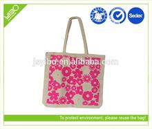 Customized flower printing eco reusable foldable canvas shopping bag
