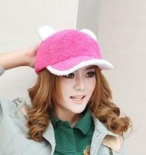 2014 new fashion polar fleece girl winter cat ears baseball hat