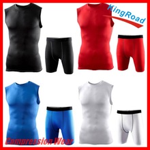 Mens Tracksuit Compression Base Layer Sleeveless Tank/ Tops /Jersey/ Shirts with Shorts