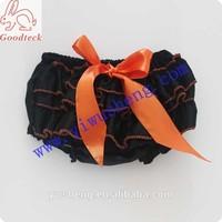 Halloween black baby girl bloomer,lovely satin girl panty bloomer with orange along