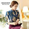 frete grátis 2014 caem de moda para as mulheres chegada novo estilo coreano impresso chiffon manga longa gola camisa escritório 8013