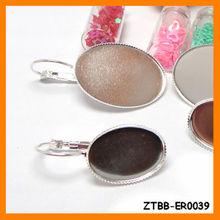 Copper Silver Plated Earring Base,Fit 13*18/18*25mm Cabochon,earring bezel,metal base bezel ZTBB-ER0039
