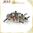Italian brand 8pcs stainless steel cookware set cooking pot with 16cm mini vegetable steamer & heat resistant bakelite handle