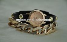 2014 New Wristwatch Fashion Gold Chain Rivet Studded Pu Long Leather Wrap Strap Women Dress Quartz Watch Vintage Clock