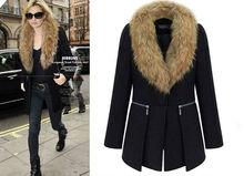 C83460A European style Women Fur collar coat/lady winter coat/big size winter coat
