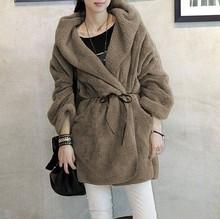 C83455A Loose cloak warm thick plush coat/fashion women warm soft coat
