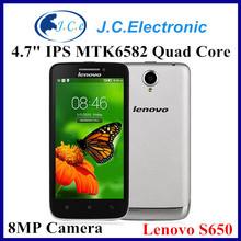 Original lenovo S650 MT6582 Quad Core Mobile Phone 4.7'' Gorilla Glass 8MP 1GB RAM 8GB ROM Android 4.2 3G WCDMA Multi Languages