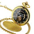 de ouro de ouro antigo mecânica esqueleto relógio de bolso colar wp133