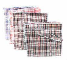 Plastic Striped Woven Zipper Bags Handles Storage Cloth Laundry Shopping / Trash