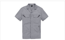 Unisex 65% Polyester, 35% Cotton twill grey short sleeves special pockets designs Super air holes help relieve sweat under shirt