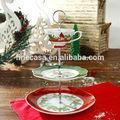 Estilo de la navidad fina porcelana blanca 3 nivel oro alambre placa de la torta del soporte de nueva navidad