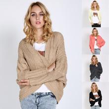 Woman hot loose bat sleeve cardigan knitting thick coat shawl plus size wholesale models sweater for ladies SV007159