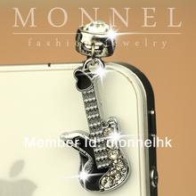 ip265- 1 Monnel 2015 Custom Designed Alloy Flat Mini Black Guitar Phone Headphone Anti Dust Plug Cover Charm