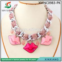2014 New Design Fashion europe sexy lady wholesale chunky lip necklace