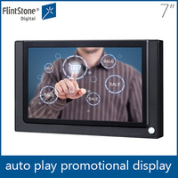 Flintstone 7 inch black color LED digital signage touch screen player, shelf hanging ir body sensor pop up wall display