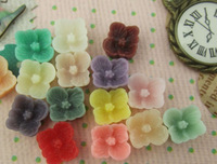 8mm Little Resin Sakura Blossom Flower Cabochons of Assorted Colour