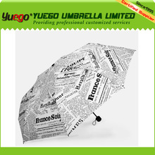 UV Protect Manual Open Foldable English Newspaper Umbrella