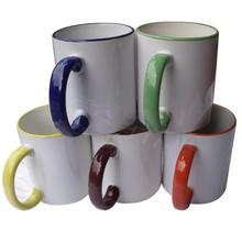 wholesale blank 11oz. Rim colour mugs for sublimation printable,different rim colour
