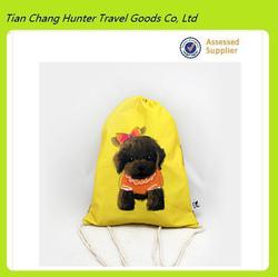 high quality funny dog print drawstring bag,cute dog drawstring bag