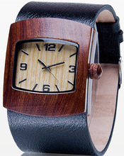 OEM and ODM welcome wholesale wood watch red sandalwood waterproof wood watch sepcial genuine leather wood watch