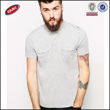 wholesale bulk plain grey cheap uniform polo shirts with pockets and epaulettes
