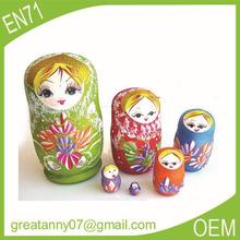 Yiwu wholesale 2015 hot style promotion gifts popular Matryoshka stacking nesting doll with family style