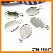 13*18mm setting size vintage Copper Silver Oval pendant bezels trays/blanks,bezel blank,fit 13*18mm cabochon ZTBB-PT0017