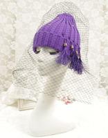 Korean Beads Pendant Tassels Crochet Knitting Hat With Mesh