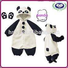 Wholesale cheap high quality cute velvet kids winter rompers panda