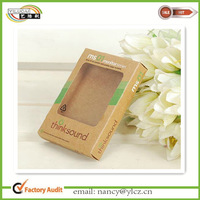 Color printed brown kraft paper dj sound box packaging with clear window