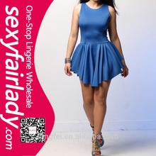 wholesale latest royal blue ladies casual dress designs
