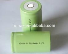 Shenzhen OEM/ODM battery nimh D 1.2v 8000mah / 1.2volt 8Ah ni-mh D size battery