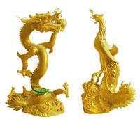 Copper dragon and phoenix statues
