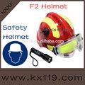 de color rojo con amarillo reflectante casco de rescate con la linterna