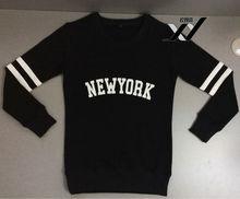 2014 NEW YORK printing black women long sleeve cotton sweatshirt