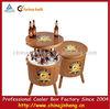 Garden wooden cooler box round barrel beer cooler for outdoor indoor